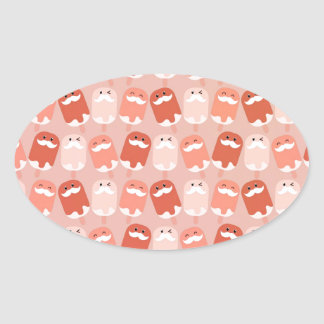 Colorful Ice Cream with Mustaches Oval Sticker