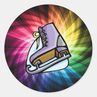 Colorful Ice Skate Round Sticker