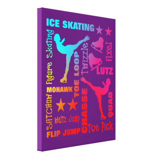 Colorful Ice Skating Theme Terminology Typography Canvas Print
