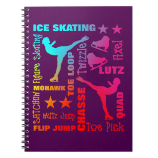Colorful Ice Skating Theme Terminology Typography Notebook