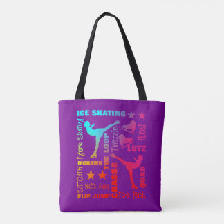 Colorful Ice Skating Theme Terminology Typography Tote Bag