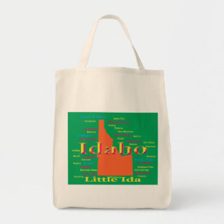 Colorful Idaho State Pride Map Canvas Bags