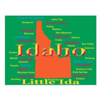 Colorful Idaho State Pride Map Postcard