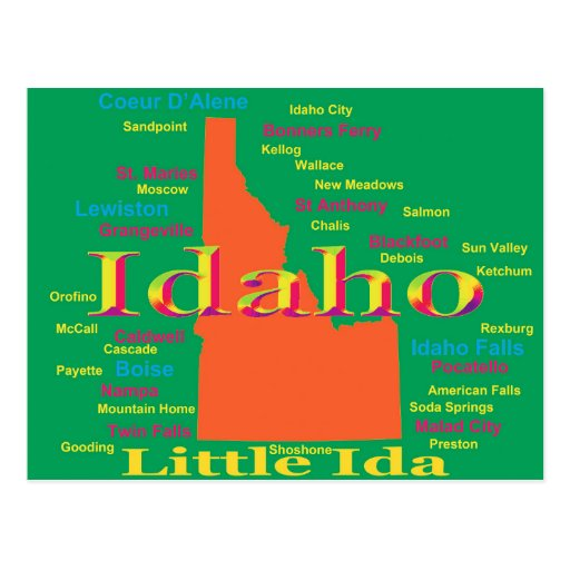 Colorful Idaho State Pride Map Post Card