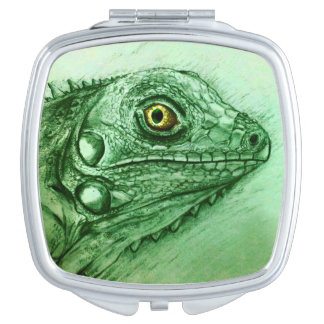Colorful illustrated compact mirror  -  Iguana