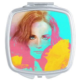 Colorful illustrated compact mirror  -  Intense