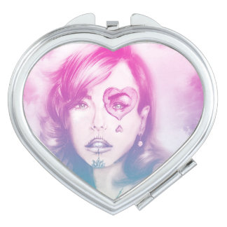 Colorful illustrated compact mirror  - Rainbow