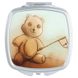 Colorful illustrated compact mirror  -  Teddy