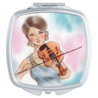 Colorful illustrated compact mirror  -  Violin