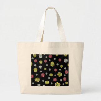 Colorful illustrated daisy floral pattern tote bag
