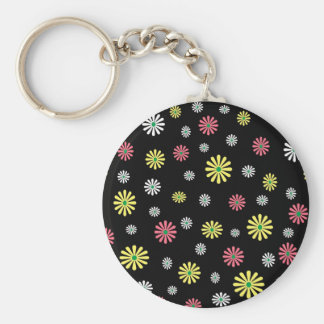 Colorful illustrated daisy floral pattern keychain