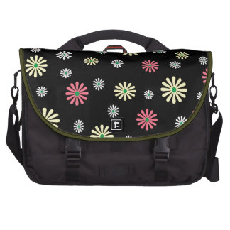 Colorful illustrated daisy floral pattern laptop messenger bag