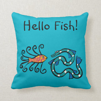 Colorful Illustrated Fish Friends Cushion
