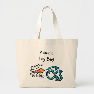 Colorful Illustrated Fish Friends Large Tote Bag