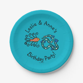 Colorful Illustrated Fish Friends Paper Plate
