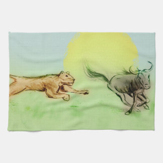 Colorful illustrated kitchen towel - Chase