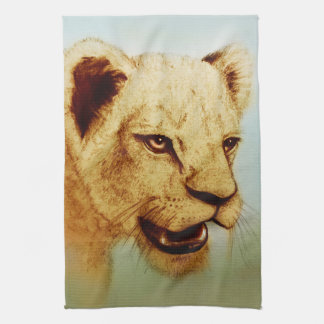 Colorful illustrated kitchen towel - Lion