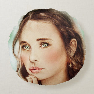 Colorful illustrated round pillow - Lady of Spring