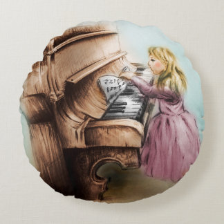 Colorful illustrated round pillow - Piano Girl