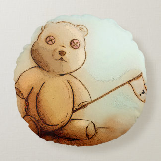 Colorful illustrated round pillow - Teddy