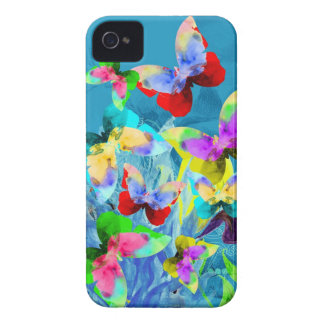 Colorful illustration of butterflies on blue plant iPhone 4 covers
