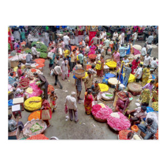 Colorful Indian Flower Market in Bangalore India Postcard