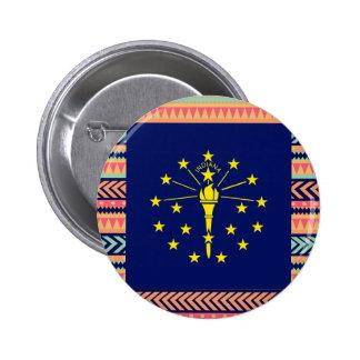 Colorful Indiana Flag Box 6 Cm Round Badge