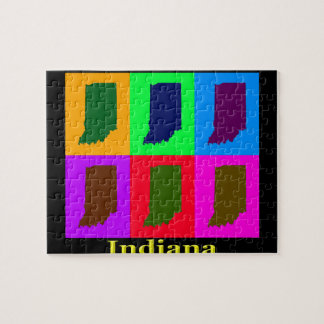 Colorful Indiana State Pop Art Map Jigsaw Puzzle