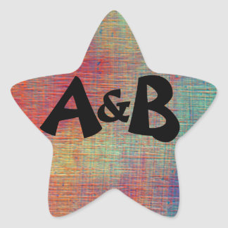 Colorful Initials Envelope Seals Star Sticker
