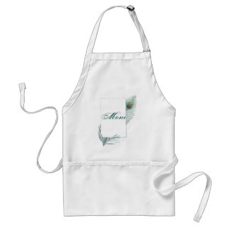 Colorful Inspirational Vintage Peacock Feather Adult Apron