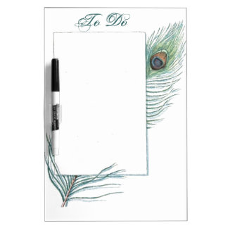 Colorful Inspirational Vintage Peacock Feather Dry Erase Board