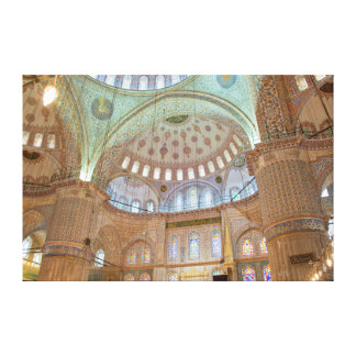 Colorful interior domed ceiling of Blue Mosque Canvas Print