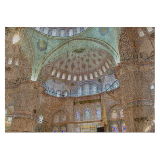 Colorful interior domed ceiling of Blue Mosque Cutting Board