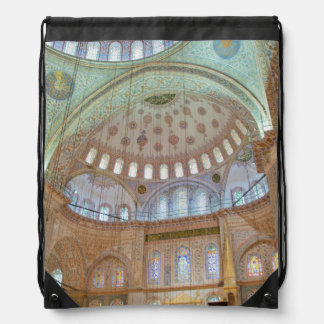Colorful interior domed ceiling of Blue Mosque Drawstring Bag