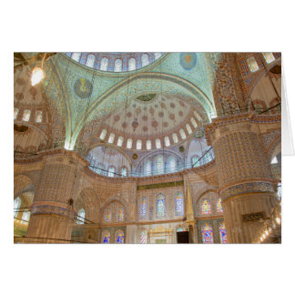 Colorful interior domed ceiling of Blue Mosque Greeting Card