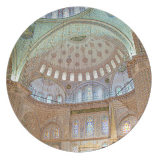 Colorful interior domed ceiling of Blue Mosque Plate