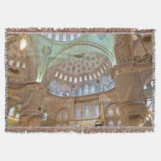 Colorful interior domed ceiling of Blue Mosque Throw Blanket