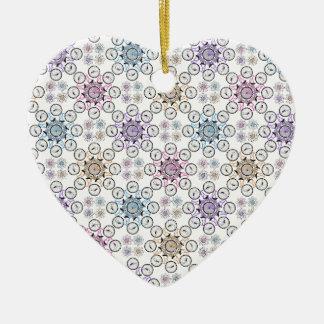 Colorful interlocking bicycle, wow! ceramic heart decoration