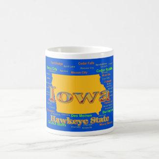 Colorful Iowa State Pride Map Silhouette Basic White Mug