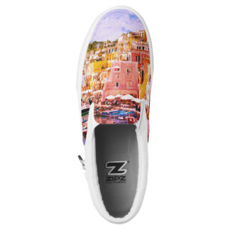 Colorful Italy Vintage Art Fishing Harbor Slip On Shoes