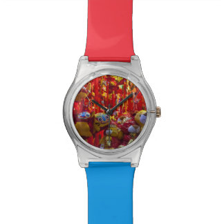 Colorful items for sale in a shop in Hong Kong Wristwatches