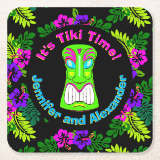 Colorful It's Tiki Time Square Paper Coaster