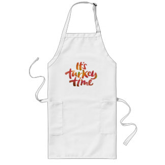 Colorful Its Turkey Time Thanksgiving Lettering Long Apron