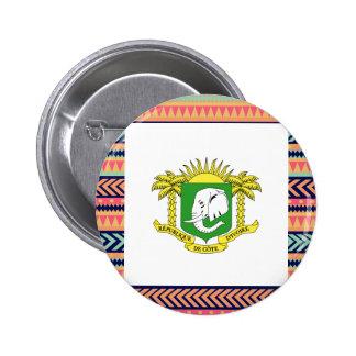 Colorful Ivory Coast Flag Box 6 Cm Round Badge
