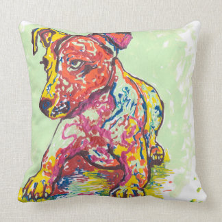 Colorful Jack Russell Terrier Throw Pillow