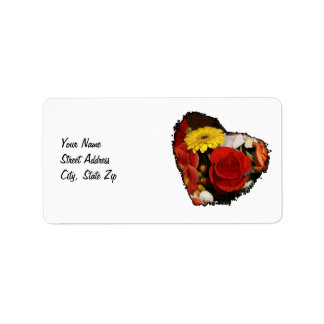 Colorful Jagged Edge Flower Heart Address Label