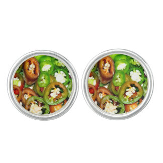 Colorful Jalapeno Pepper Slices Cuff Links