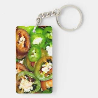 Colorful Jalapeno Pepper Slices Double-Sided Rectangular Acrylic Key Ring