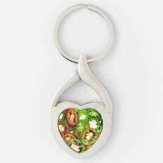 Colorful Jalapeno Pepper Slices Silver-Colored Twisted Heart Key Ring