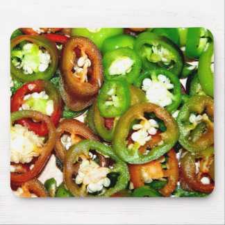 Colorful Jalapeno Pepper Slices Mouse Mat